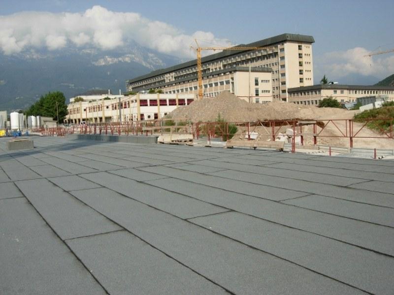 Ospedale di Bolzano, tunnel di collegamento con membrana antiradice