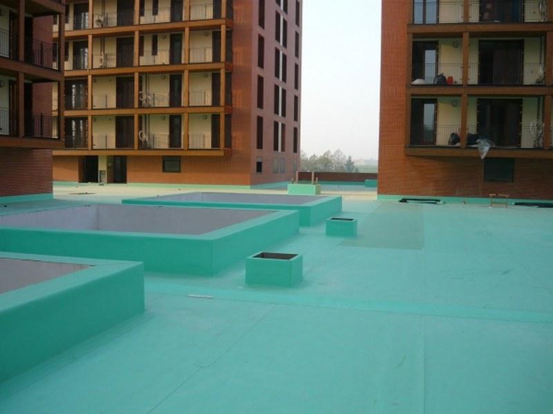 Complesso alloggi per universitari a Ferrara, copertura impermeabile con giardino pensile